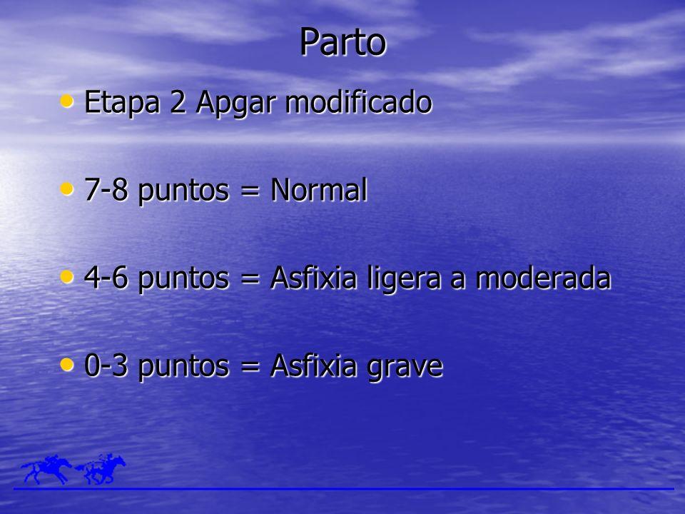 Parto Etapa 2 Apgar modificado Etapa 2 Apgar modificado 7-8 puntos = Normal 7-8 puntos = Normal 4-6 puntos = Asfixia ligera a moderada 4-6 puntos = As
