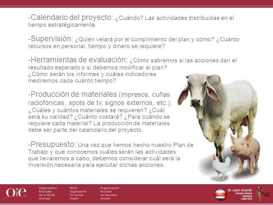 dr. yayo vicente Director General SENASAl Costa Rica -Calendario del proyecto: ¿Cuándo? Las actividades distribuidas en el tiempo estratégicamente. -S