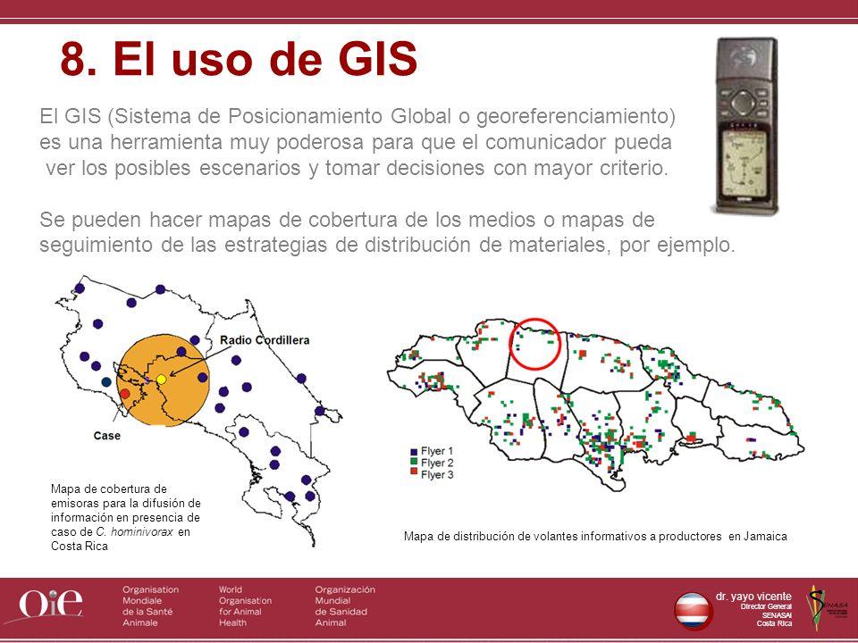 dr. yayo vicente Director General SENASAl Costa Rica El GIS (Sistema de Posicionamiento Global o georeferenciamiento) es una herramienta muy poderosa