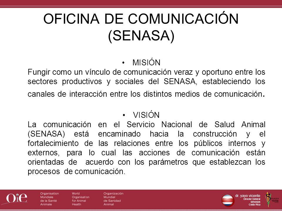 dr. yayo vicente Director General SENASAl Costa Rica OFICINA DE COMUNICACIÓN (SENASA) MISIÓN Fungir como un vínculo de comunicación veraz y oportuno e