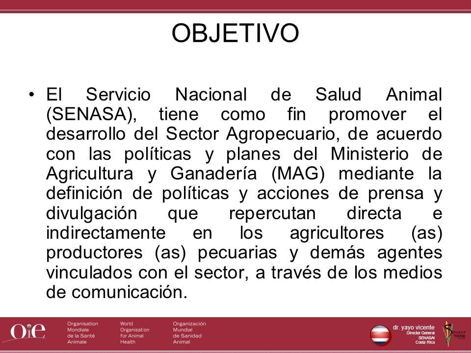 dr. yayo vicente Director General SENASAl Costa Rica OBJETIVO El Servicio Nacional de Salud Animal (SENASA), tiene como fin promover el desarrollo del