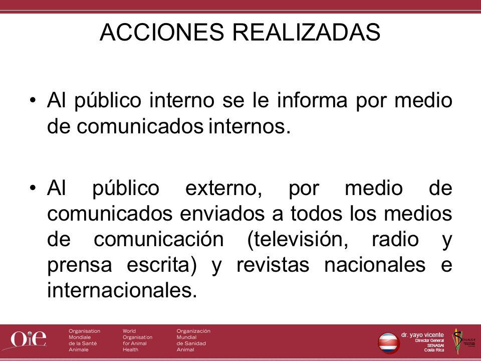 dr. yayo vicente Director General SENASAl Costa Rica ACCIONES REALIZADAS Al público interno se le informa por medio de comunicados internos. Al públic