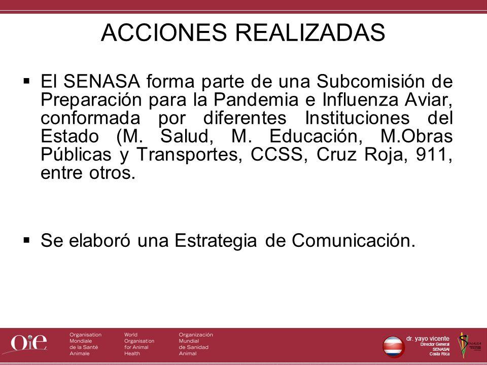 dr. yayo vicente Director General SENASAl Costa Rica ACCIONES REALIZADAS El SENASA forma parte de una Subcomisión de Preparación para la Pandemia e In