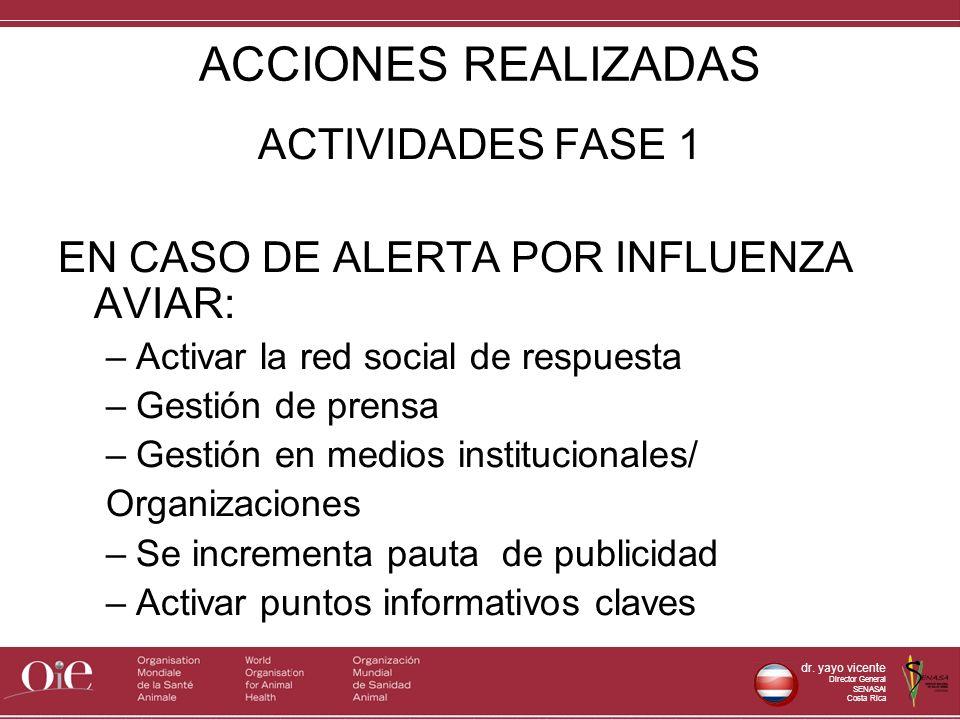 dr. yayo vicente Director General SENASAl Costa Rica ACCIONES REALIZADAS ACTIVIDADES FASE 1 EN CASO DE ALERTA POR INFLUENZA AVIAR: –Activar la red soc
