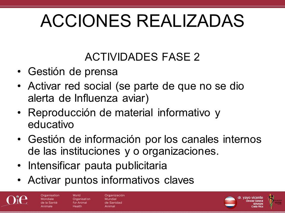 dr. yayo vicente Director General SENASAl Costa Rica ACCIONES REALIZADAS ACTIVIDADES FASE 2 Gestión de prensa Activar red social (se parte de que no s