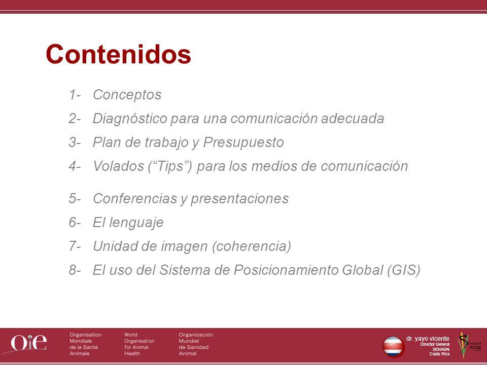 dr. yayo vicente Director General SENASAl Costa Rica 1- Conceptos 2- Diagnóstico para una comunicación adecuada 3- Plan de trabajo y Presupuesto 4- Vo
