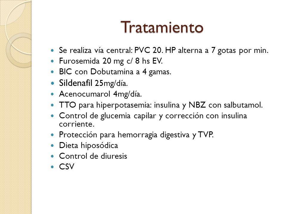 Tratamiento Se realiza vía central: PVC 20. HP alterna a 7 gotas por min. Furosemida 20 mg c/ 8 hs EV. BIC con Dobutamina a 4 gamas. Sildenafil 25mg/d