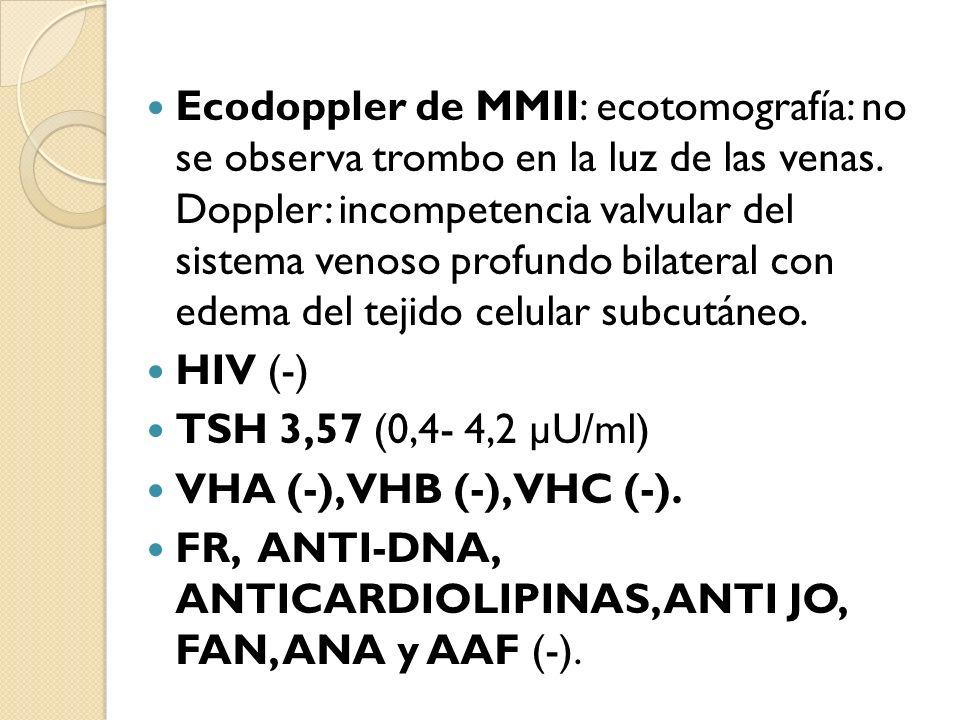 Ecodoppler de MMII: ecotomografía: no se observa trombo en la luz de las venas. Doppler: incompetencia valvular del sistema venoso profundo bilateral