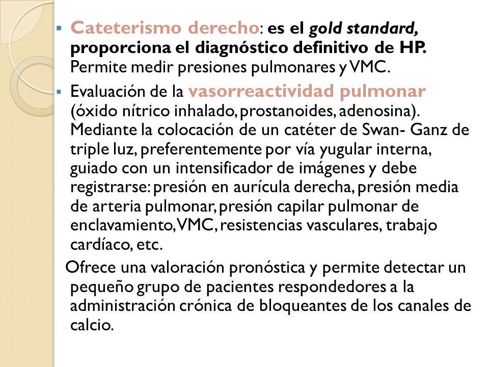 Cateterismo derecho : es el gold standard, proporciona el diagnóstico definitivo de HP. Permite medir presiones pulmonares y VMC. Evaluación de la vas