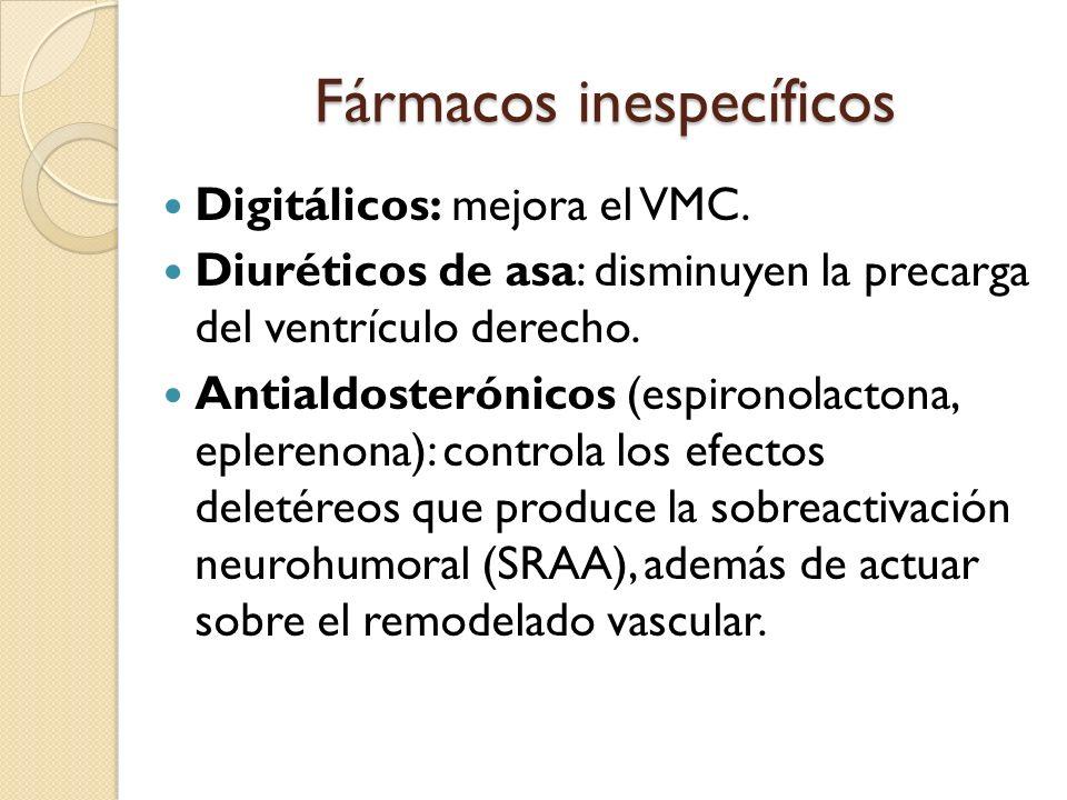 Fármacos inespecíficos Digitálicos: mejora el VMC. Diuréticos de asa: disminuyen la precarga del ventrículo derecho. Antialdosterónicos (espironolacto