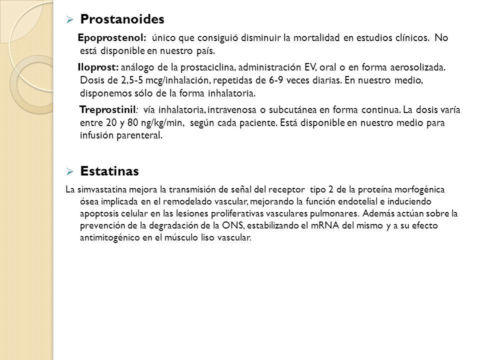 Prostanoides Epoprostenol: único que consiguió disminuir la mortalidad en estudios clínicos. No está disponible en nuestro país. Iloprost: análogo de