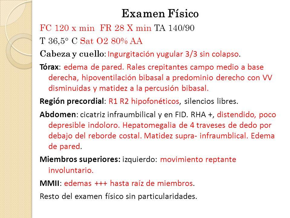 Examen Físico FC 120 x min FR 28 X min TA 140/90 T 36,5° C Sat O2 80% AA Cabeza y cuello : Ingurgitación yugular 3/3 sin colapso. Tórax: edema de pare