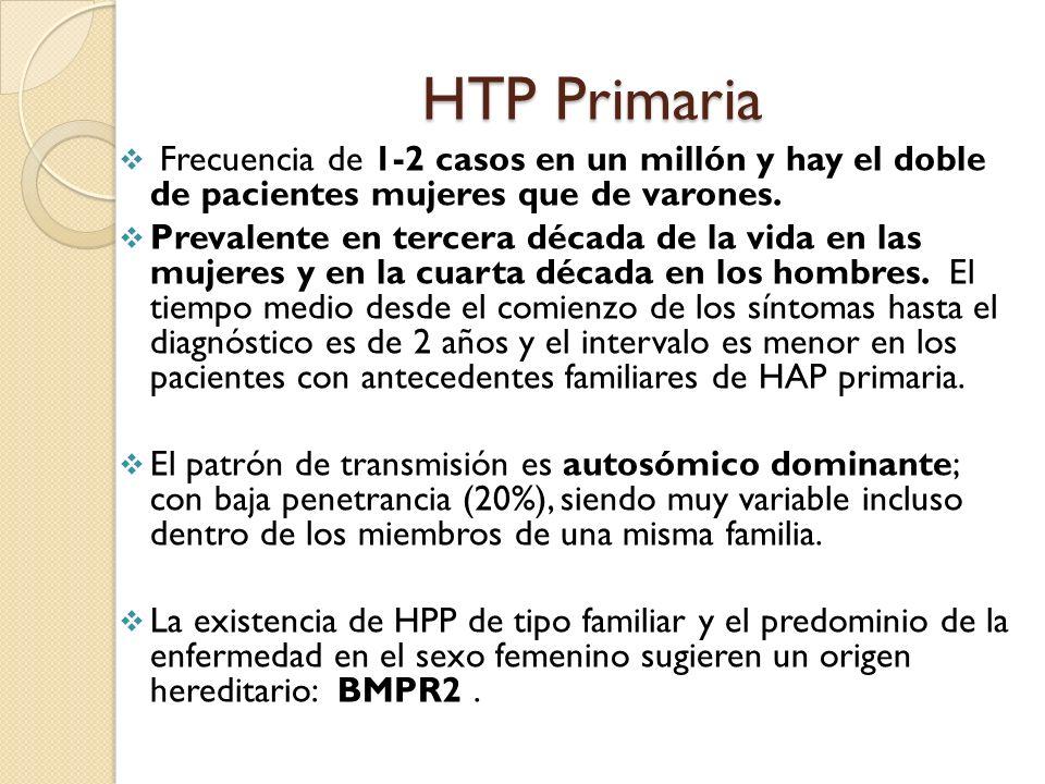 HTP Primaria Frecuencia de 1-2 casos en un millón y hay el doble de pacientes mujeres que de varones. Prevalente en tercera década de la vida en las m