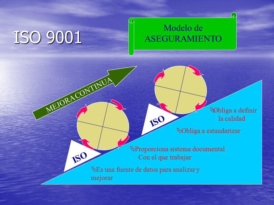ISO 9001 Modelo de ASEGURAMIENTO Obliga a definir la calidad Obliga a estandarizar Proporciona sistema documental Con el que trabajar ISO MEJORA CONTINUA Es una fuente de datos para analizar y mejorar