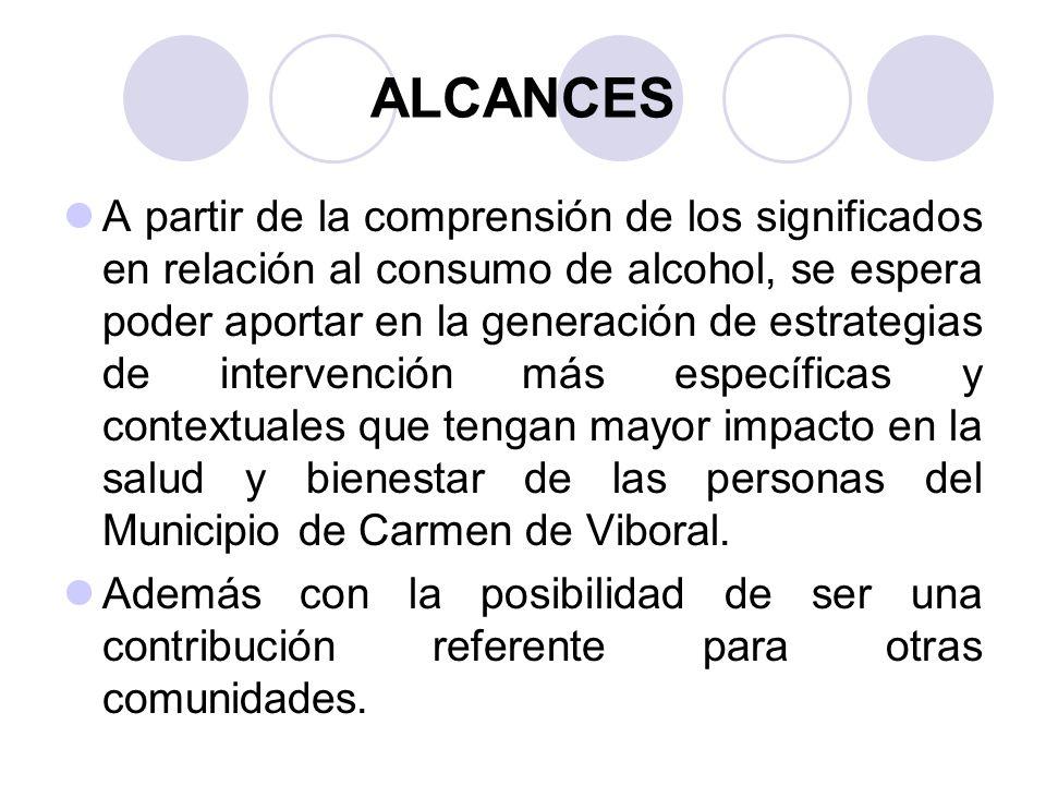 ALCANCES A partir de la comprensión de los significados en relación al consumo de alcohol, se espera poder aportar en la generación de estrategias de intervención más específicas y contextuales que tengan mayor impacto en la salud y bienestar de las personas del Municipio de Carmen de Viboral.