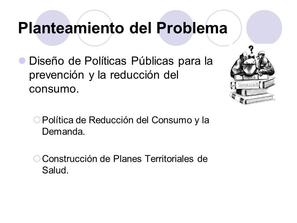 Planteamiento del Problema Diseño de Políticas Públicas para la prevención y la reducción del consumo.