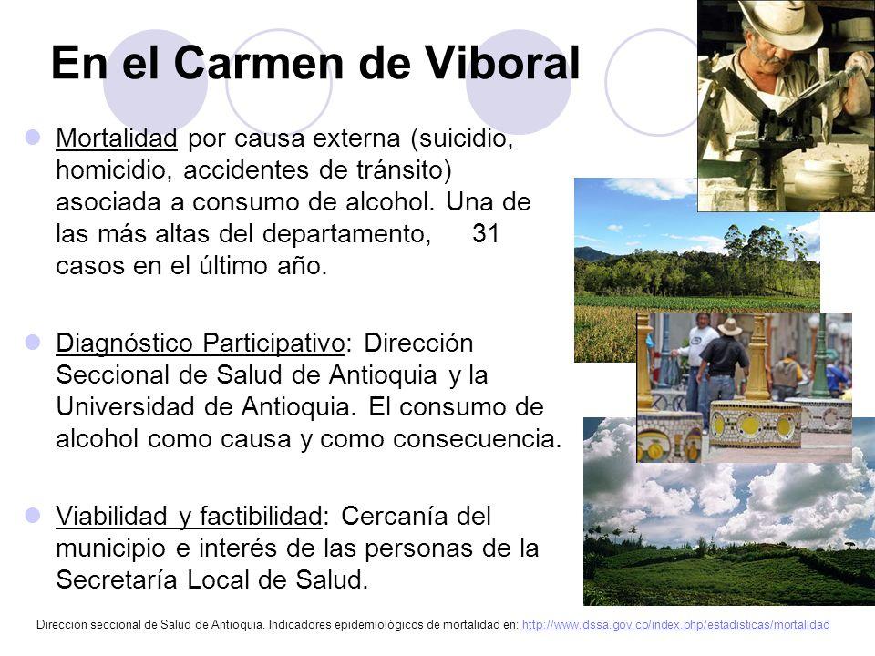 Pregunta de Investigación ¿Cómo es la transformación del significado del consumo de alcohol no-problemático a uno problemático para los habitantes de la comunidad rural del municipio antioqueño, Carmen de Viboral en el período 2010-2011?