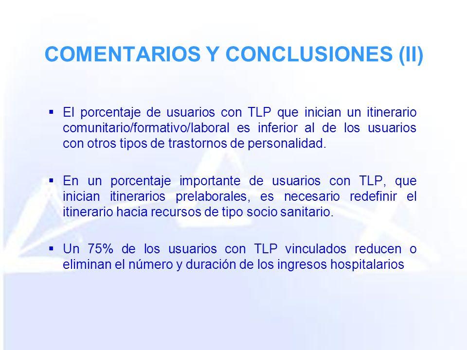 COMENTARIOS Y CONCLUSIONES (II) El porcentaje de usuarios con TLP que inician un itinerario comunitario/formativo/laboral es inferior al de los usuarios con otros tipos de trastornos de personalidad.