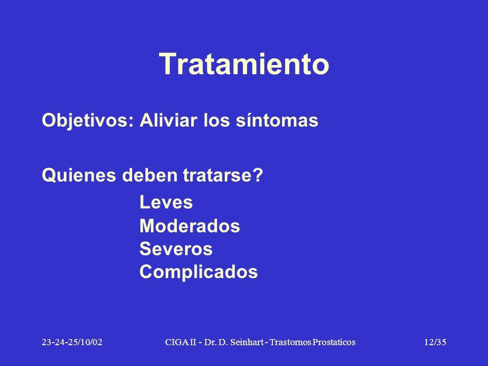 23-24-25/10/02CIGA II - Dr. D. Seinhart - Trastornos Prostaticos12/35 Tratamiento Objetivos: Aliviar los síntomas Quienes deben tratarse? Leves Modera