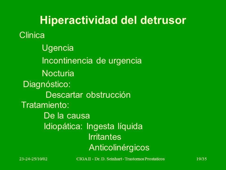 23-24-25/10/02CIGA II - Dr. D. Seinhart - Trastornos Prostaticos19/35 Hiperactividad del detrusor Clinica Ugencia Incontinencia de urgencia Nocturia D