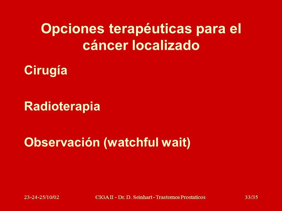 23-24-25/10/02CIGA II - Dr. D. Seinhart - Trastornos Prostaticos33/35 Opciones terapéuticas para el cáncer localizado Cirugía Radioterapia Observación