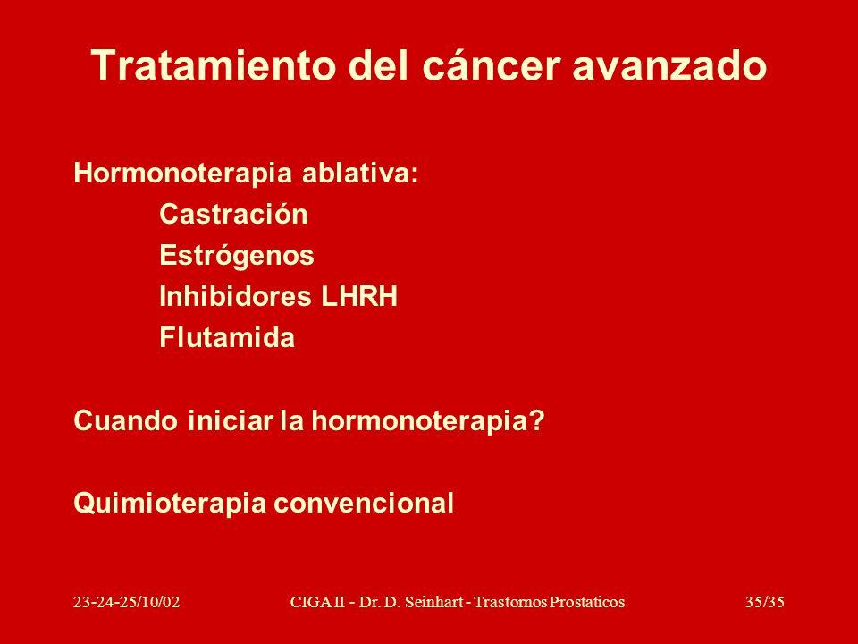 23-24-25/10/02CIGA II - Dr. D. Seinhart - Trastornos Prostaticos35/35 Tratamiento del cáncer avanzado Hormonoterapia ablativa: Castración Estrógenos I