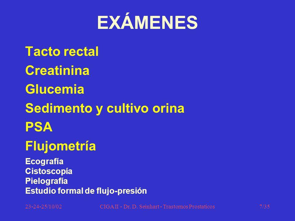 23-24-25/10/02CIGA II - Dr. D. Seinhart - Trastornos Prostaticos7/35 EXÁMENES Tacto rectal Creatinina Glucemia Sedimento y cultivo orina PSA Flujometr