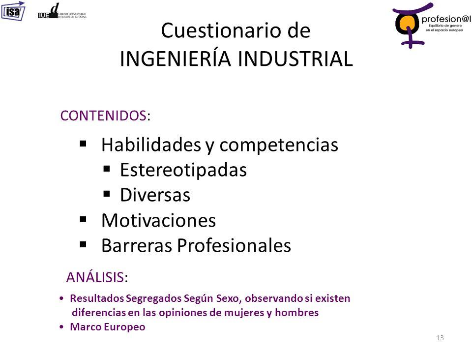 Cuestionario de INGENIERÍA INDUSTRIAL 13 CONTENIDOS: Habilidades y competencias Estereotipadas Diversas Motivaciones Barreras Profesionales ANÁLISIS: