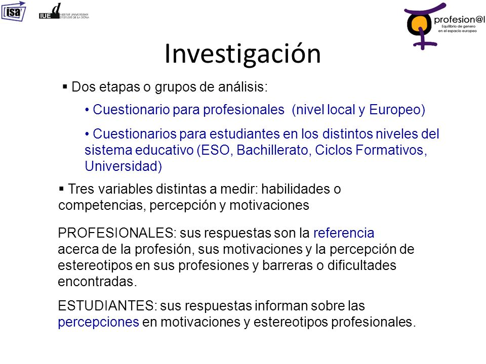 Investigación Dos etapas o grupos de análisis: Cuestionario para profesionales (nivel local y Europeo) Cuestionarios para estudiantes en los distintos