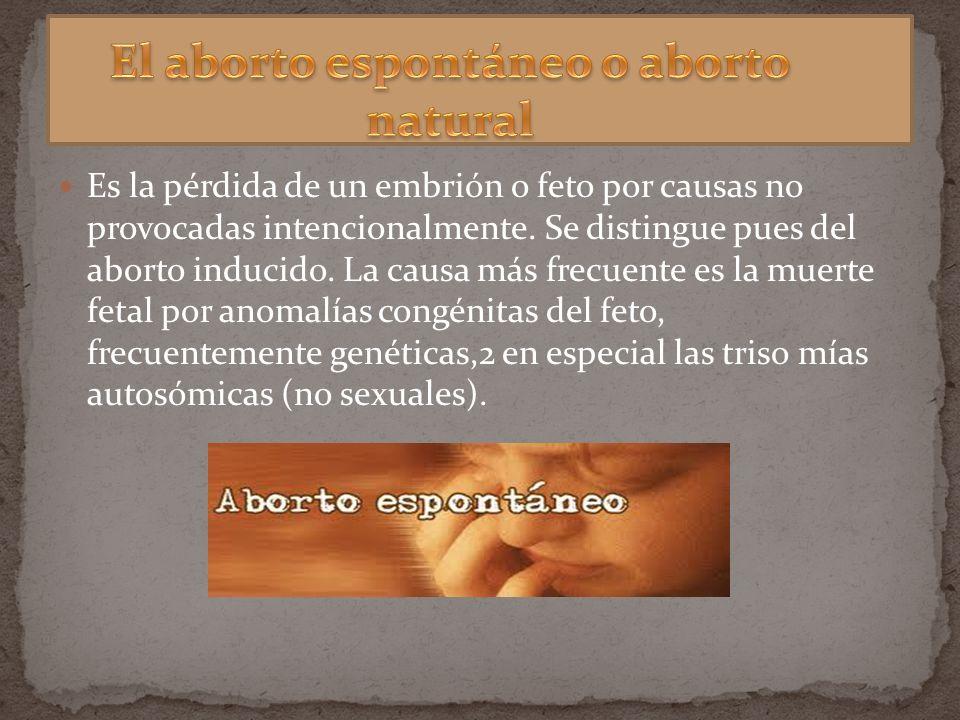 Es la pérdida de un embrión o feto por causas no provocadas intencionalmente. Se distingue pues del aborto inducido. La causa más frecuente es la muer