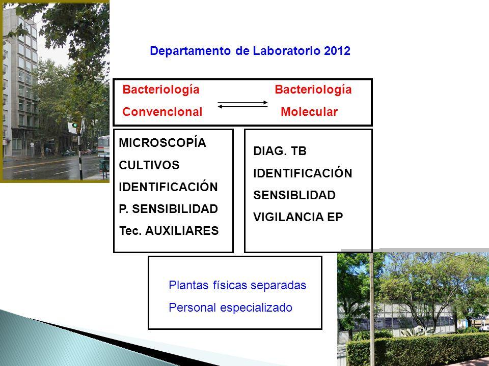 Departamento de Laboratorio 2012 Bacteriología Convencional Molecular MICROSCOPÍA CULTIVOS IDENTIFICACIÓN P.
