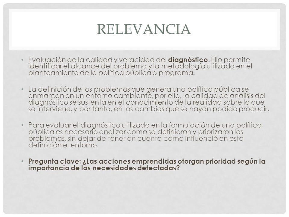 RELEVANCIA Evaluación de la calidad y veracidad del diagnóstico.