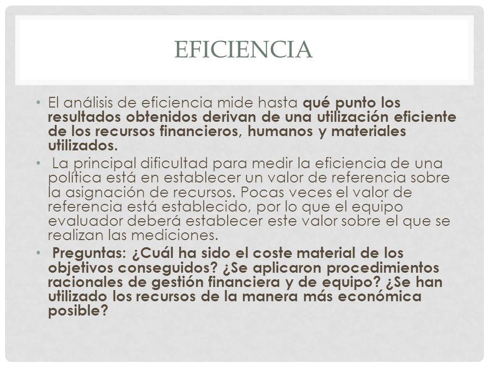 EFICIENCIA El análisis de eficiencia mide hasta qué punto los resultados obtenidos derivan de una utilización eficiente de los recursos financieros, h