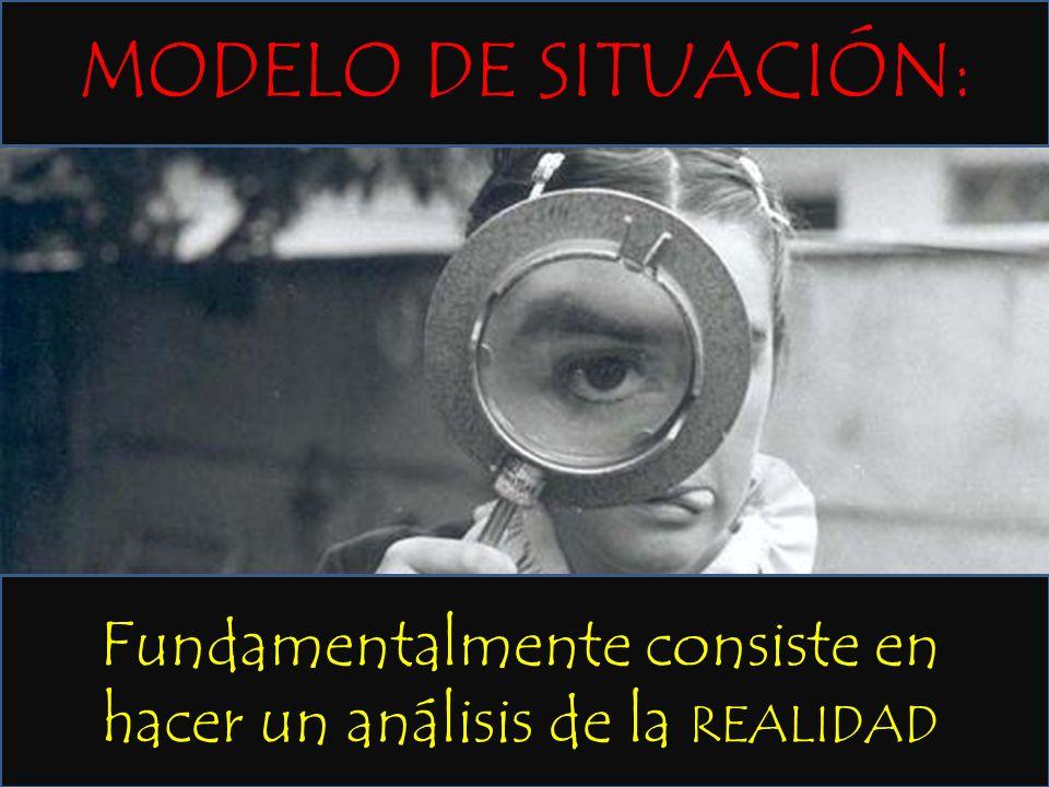 Fundamentalmente consiste en hacer un análisis de la REALIDAD MODELO DE SITUACIÓN: