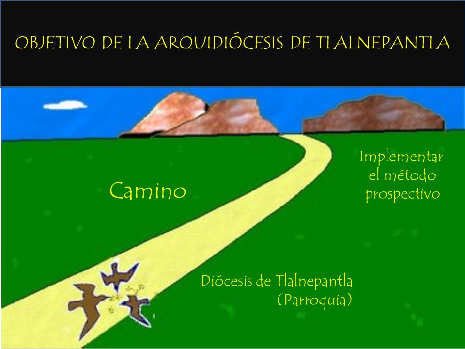OBJETIVO DE LA ARQUIDIÓCESIS DE TLALNEPANTLA Diócesis de Tlalnepantla (Parroquia) Implementar el método prospectivo Camino