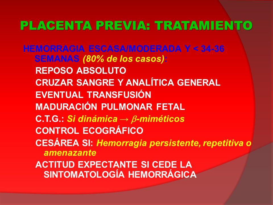 HEMORRAGIA ESCASA/MODERADA Y < 34-36 SEMANAS (80% de los casos): REPOSO ABSOLUTO CRUZAR SANGRE Y ANALÍTICA GENERAL EVENTUAL TRANSFUSIÓN MADURACIÓN PUL