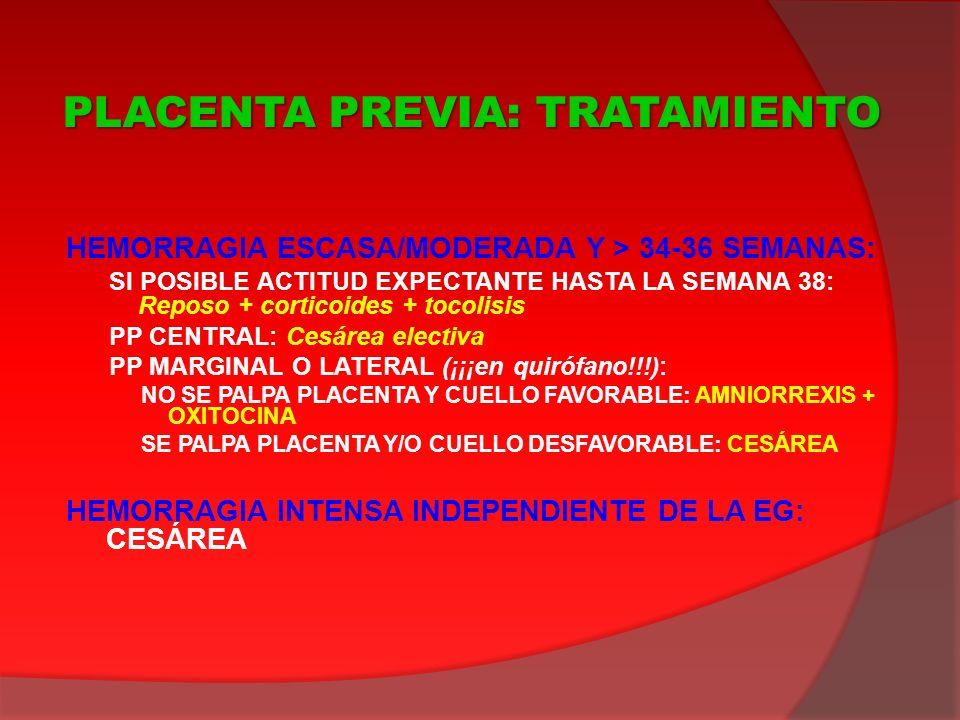 HEMORRAGIA ESCASA/MODERADA Y > 34-36 SEMANAS: SI POSIBLE ACTITUD EXPECTANTE HASTA LA SEMANA 38: Reposo + corticoides + tocolisis PP CENTRAL: Cesárea e