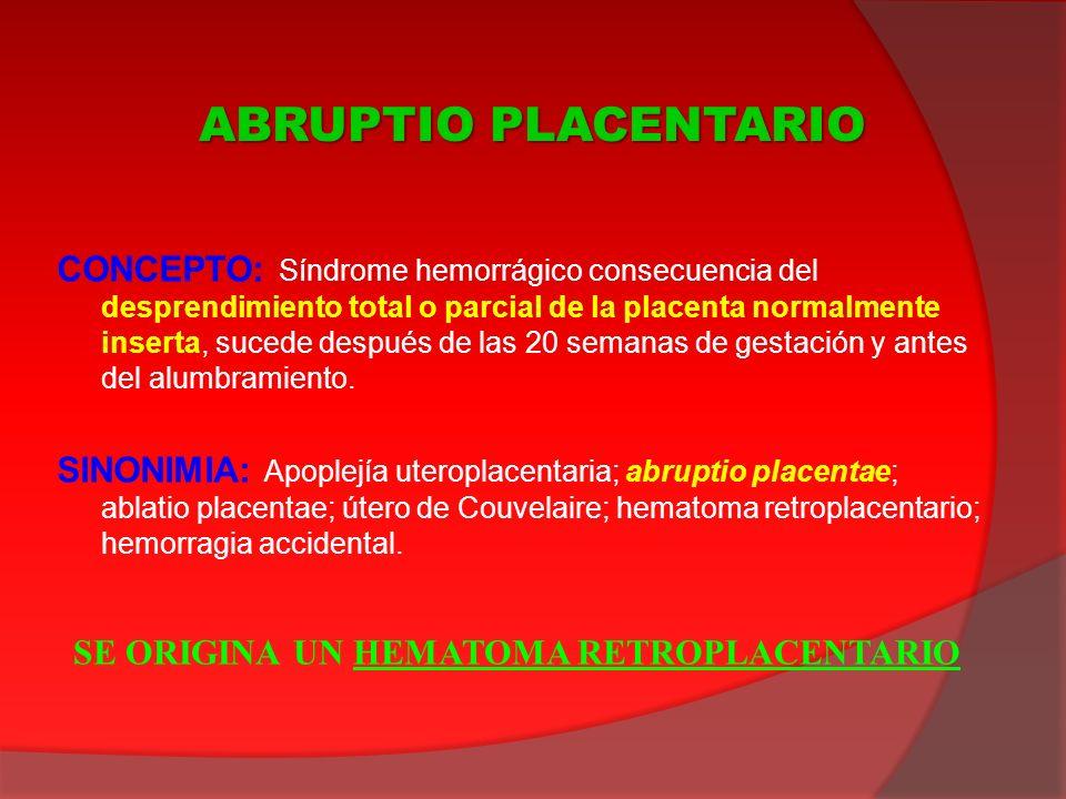 CONCEPTO: Síndrome hemorrágico consecuencia del desprendimiento total o parcial de la placenta normalmente inserta, sucede después de las 20 semanas d