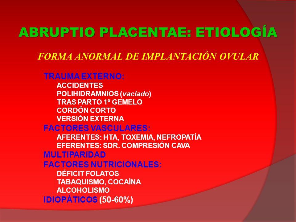 TRAUMA EXTERNO: ACCIDENTES POLIHIDRAMNIOS (vaciado) TRAS PARTO 1º GEMELO CORDÓN CORTO VERSIÓN EXTERNA FACTORES VASCULARES: AFERENTES: HTA, TOXEMIA, NE