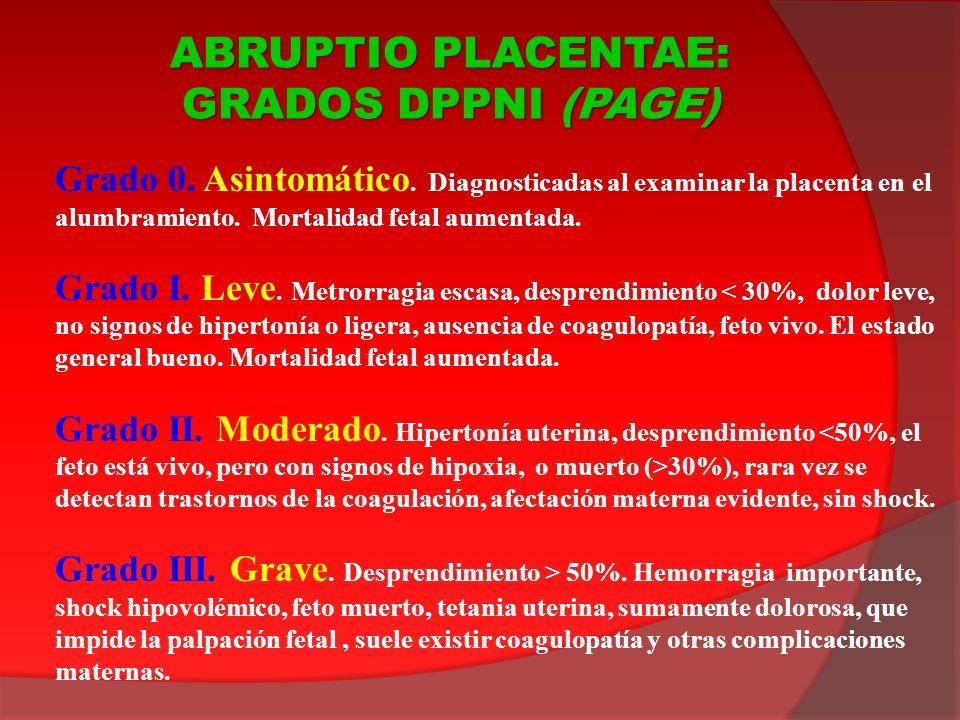 Grado 0. Asintomático. Diagnosticadas al examinar la placenta en el alumbramiento. Mortalidad fetal aumentada. Grado I. Leve. Metrorragia escasa, desp