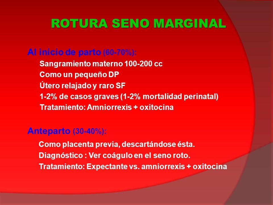 Al inicio de parto (60-70%): Sangramiento materno 100-200 cc Como un pequeño DP Útero relajado y raro SF 1-2% de casos graves (1-2% mortalidad perinat