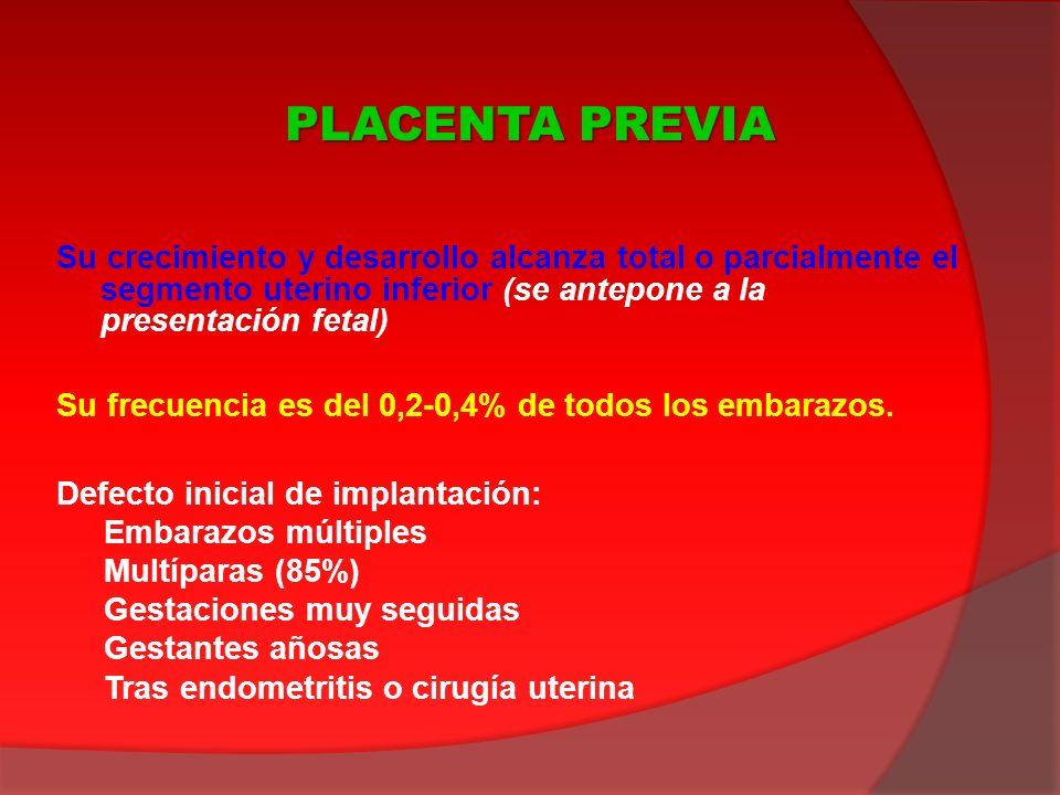 Su crecimiento y desarrollo alcanza total o parcialmente el segmento uterino inferior (se antepone a la presentación fetal) Su frecuencia es del 0,2-0