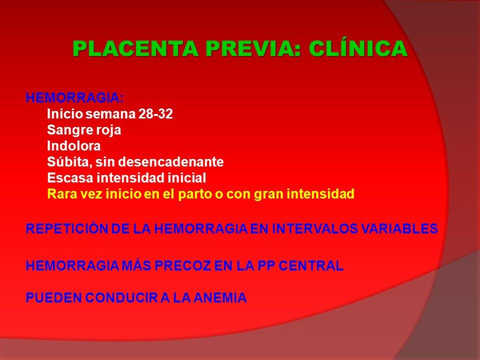 CARACTERÍSTICAS DE LA HEMORRAGIA BUEN ESTADO GENERAL MATERNO (salvo anemia) ÚTERO BLANDO, NO SENSIBLE AUSCULTACIÓN FETAL POSITIVA FRECUENTES PRESENTACIONES ANÓMALAS GENERALMENTE AUSENCIA DE DINÁMICA EXPLORACIÓN VAGINAL CONTRAINDICADA (eventual especuloscopia) ECOGRAFÍA (abdominal, vaginal) PLACENTA PREVIA: DIAGNÓSTICO