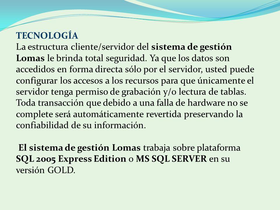 TECNOLOGÍA La estructura cliente/servidor del sistema de gestión Lomas le brinda total seguridad. Ya que los datos son accedidos en forma directa sólo