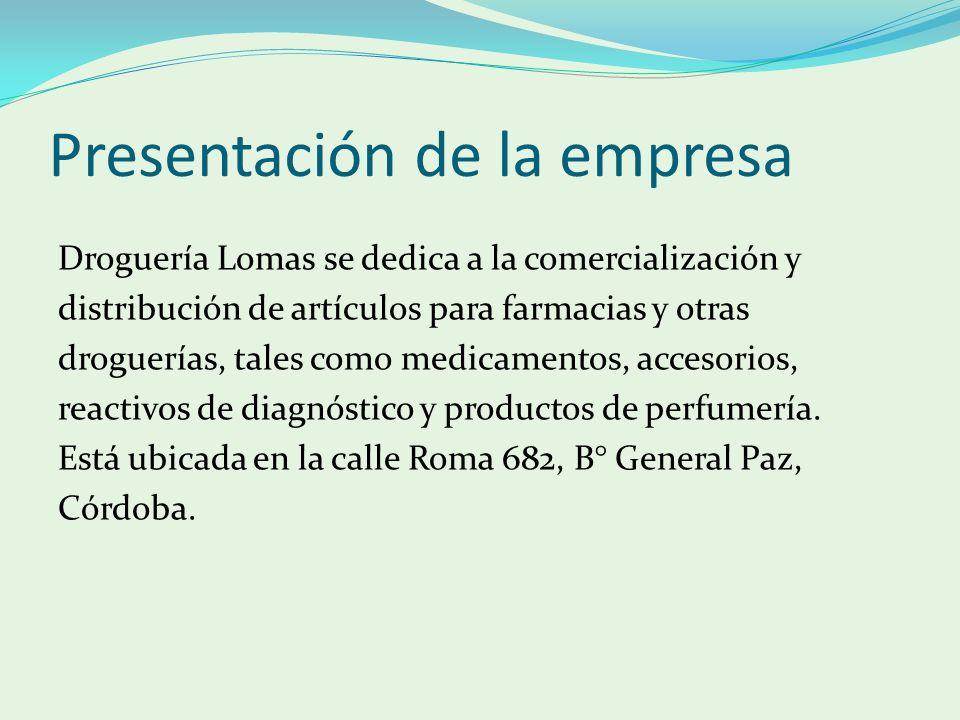 Presentación de la empresa Droguería Lomas se dedica a la comercialización y distribución de artículos para farmacias y otras droguerías, tales como m