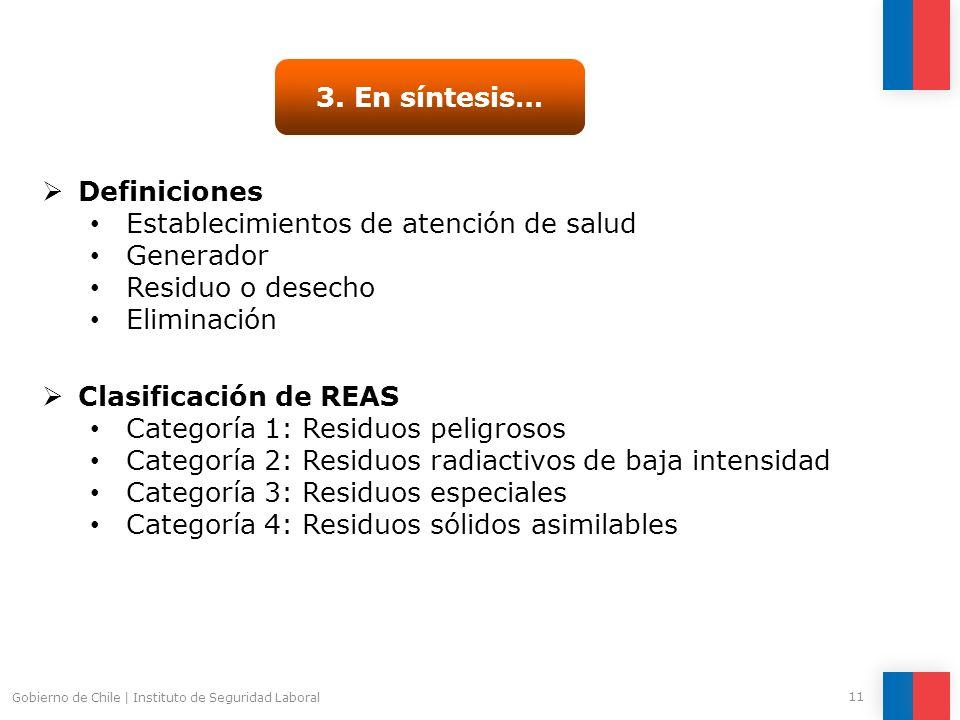 Gobierno de Chile | Instituto de Seguridad Laboral 11 3. En síntesis… Definiciones Establecimientos de atención de salud Generador Residuo o desecho E