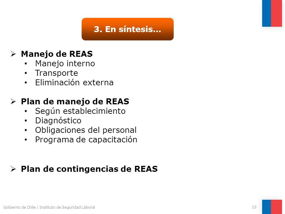 Gobierno de Chile | Instituto de Seguridad Laboral 13 3. En síntesis… Manejo de REAS Manejo interno Transporte Eliminación externa Plan de manejo de R