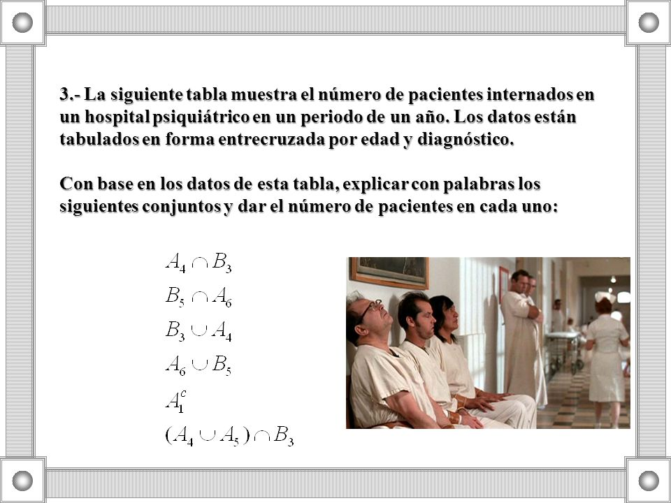 3.- La siguiente tabla muestra el número de pacientes internados en un hospital psiquiátrico en un periodo de un año. Los datos están tabulados en for