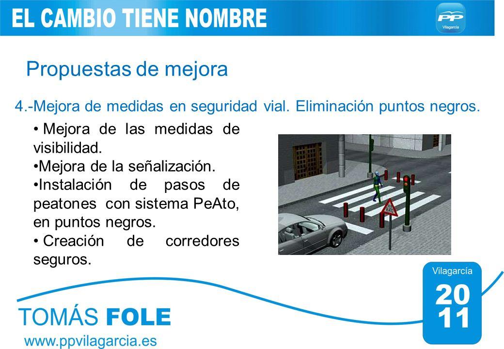 Propuestas de mejora 4.-Mejora de medidas en seguridad vial. Eliminación puntos negros. Mejora de las medidas de visibilidad. Mejora de la señalizació