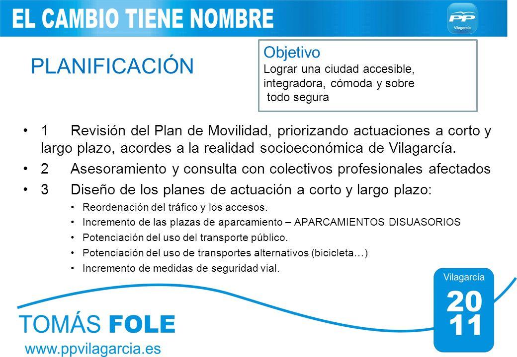 PLANIFICACIÓN 1 Revisión del Plan de Movilidad, priorizando actuaciones a corto y largo plazo, acordes a la realidad socioeconómica de Vilagarcía. 2As